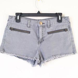 Free People Grey Raw Hem Shorts Size 27